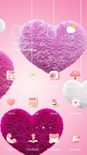 Pink Love Heart Launcher Theme