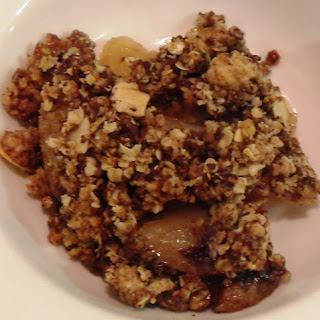 Pear, Chocolate and Ginger Crumble.