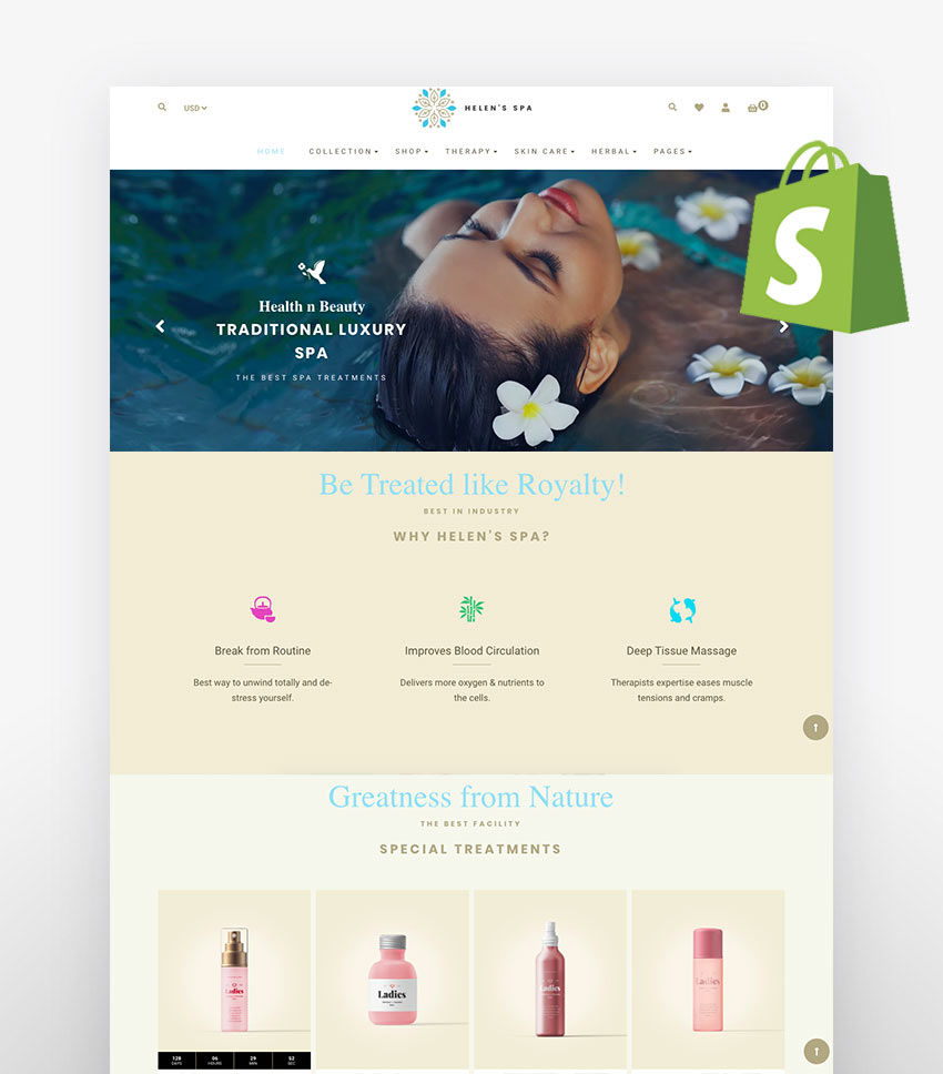 Shopify skin care themes Helen