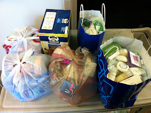 Photo: I had 5 bags of food and 1 basket of samples that I brought in...