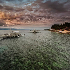 Knights of the Green Sea  by Þorsteinn H. Ingibergsson - Landscapes Beaches ( clouds, sky, nature, structor, sea, boat, landscape, philippines )