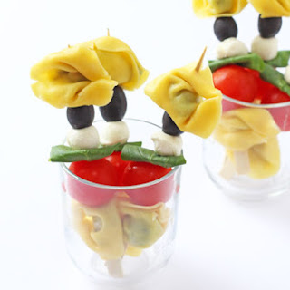 Caprese Tortellini Skewers with Tomato & Basil Dip.