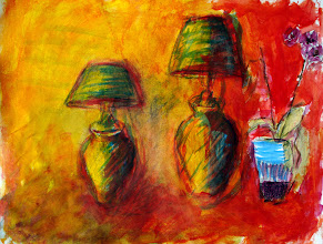 """Photo: Two Lamps and a Pot of Orchids, Brenda Clews, 2012, 13"""" x 10"""", acrylic on archival paper."""