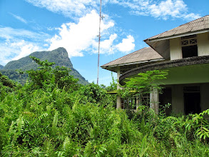 Photo: Site of Rajah Brooke's bungalow at Santubong, Sarawak, Borneo where Wallace wrote his 'Sarawak Law' essay in 1855. The site is now occupied by a derelict government rest house. Photographed in 2009. Copyright George Beccaloni