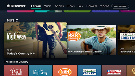 SiriusXM en Android TV: video, música, deportes, noticias