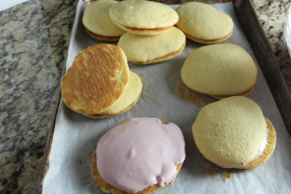 To assemble, take two pies and sandwich marshmallow creme/jam mixture inside. Hope you enjoy!!!...