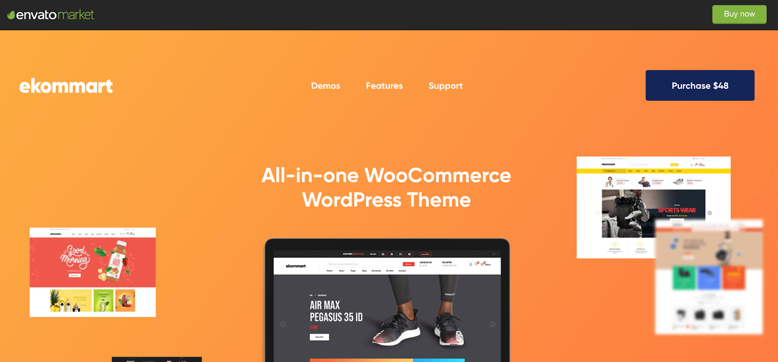 Ekommart WordPress Marketplace theme homepage featuring the tagline, computer screen, and example of the the theme layout