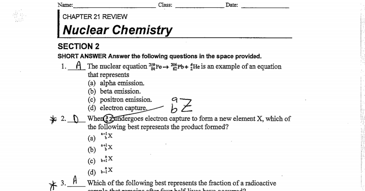 Worksheets Nuclear Chemistry Worksheet nuclear chemistry worksheet intrepidpath ae chapter 21 section 2 review answers 15 16