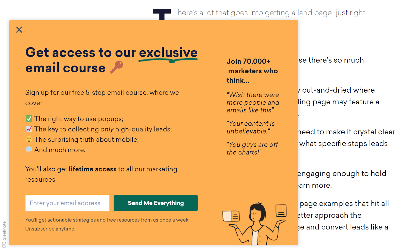 Email pop-up landing page