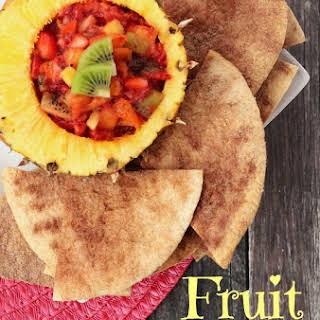 Fruit Salsa With Homemade Cinnamon Chips.