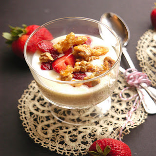 Creamy Vanilla Pudding with Balsamic Macerated Strawberries and Candied Walnuts