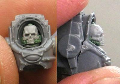 Terminator skull helmet in position