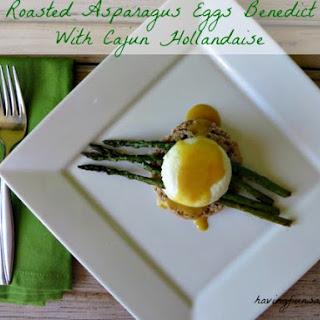 Roasted Asparagus Eggs Benedict with Cajun Hollandaise #SundaySupper Recipe