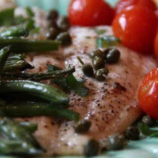 Quick Roast Fish, Green Beans, and Tomatoes with Lemon and Fresh Herbs