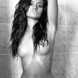 Squeeeeeeeky Clean! by Brian Sadowski - Nudes & Boudoir Artistic Nude ( models, nude, soapy, bath, shower, brunette, wet, hair )