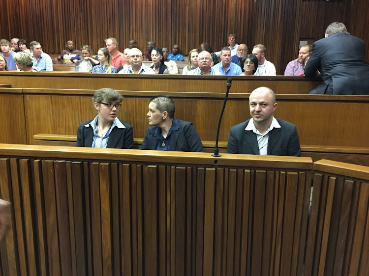 The alleged 'Krugersdorp Killers' Marcel Steyn, Cecilia Steyn and Zak Valentine in the South Gauteng High Court in Johannesburg on October 8.
