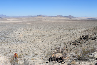 Photo: AE16 View down wash from rocky outcrop, looking north, left middle shows boundary of soil media