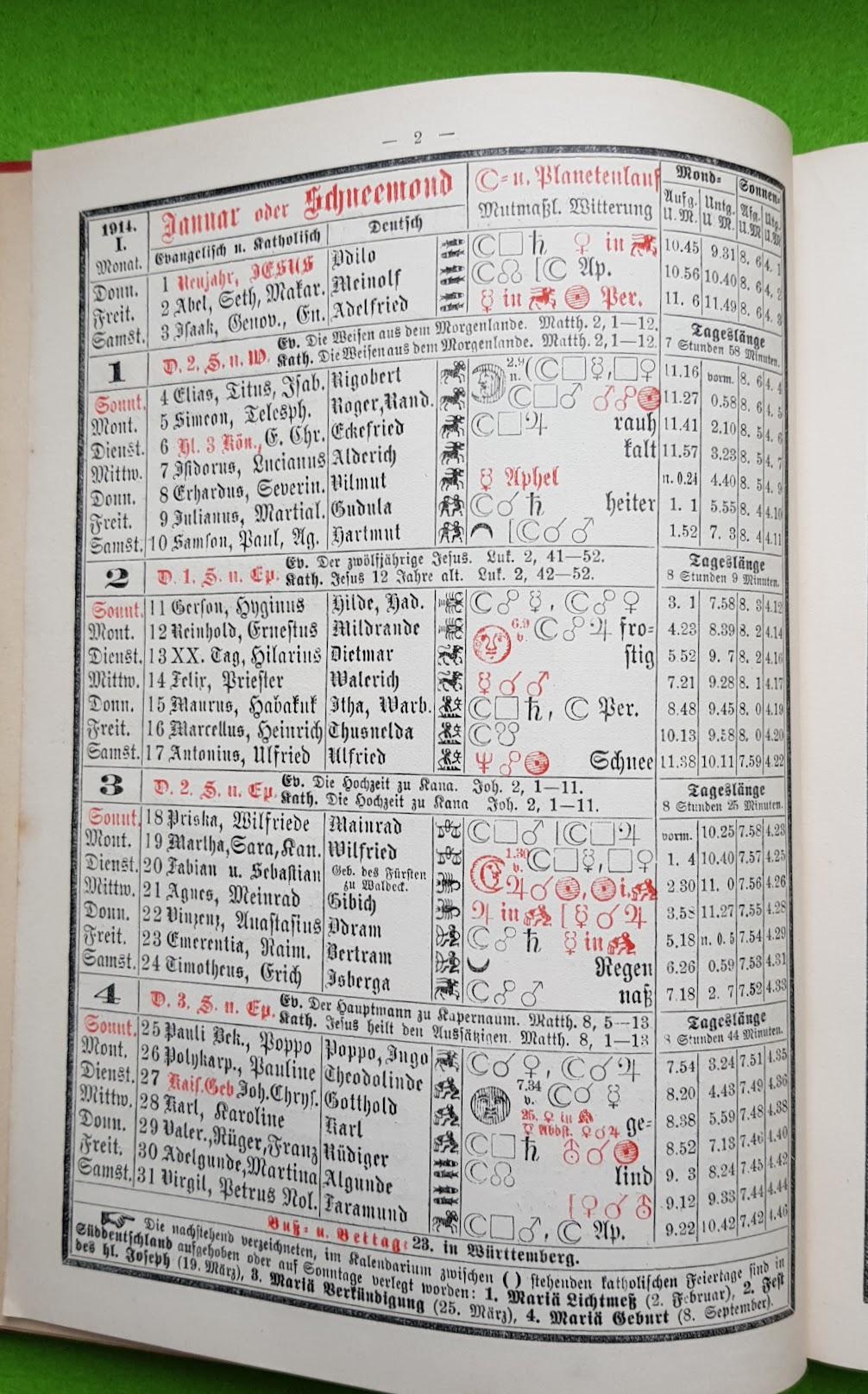 Großer Volkskalender des Lahrer hinkenden Boten - 1914 - Januar