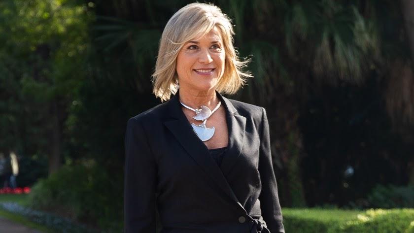 Julia Otero a su llegada a la recepción a los premiados en los Ondas en 2018.