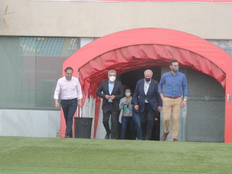 Llegada al Estadio Mediterráneo.