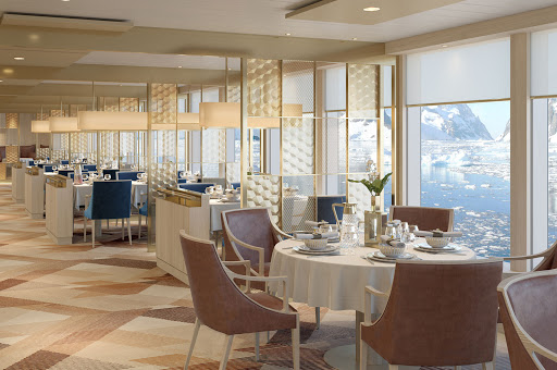national-geographic-endurance-main-restaurant.jpg - The  Two Seven Zeroº restaurant offers stellar views during your voyage on National Geographic Endurance.