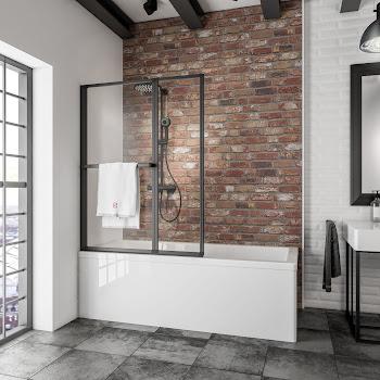 Pare-baignoire à coller avec porte-serviette, 2 volets, profilé noir, 109 x 140 cm
