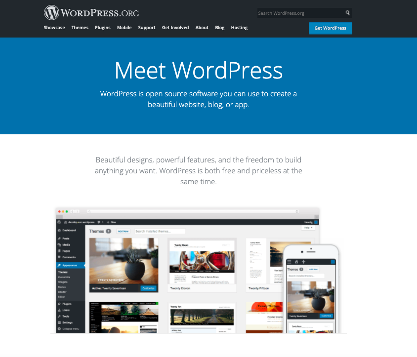 A screenshot of the WordPress.org home page