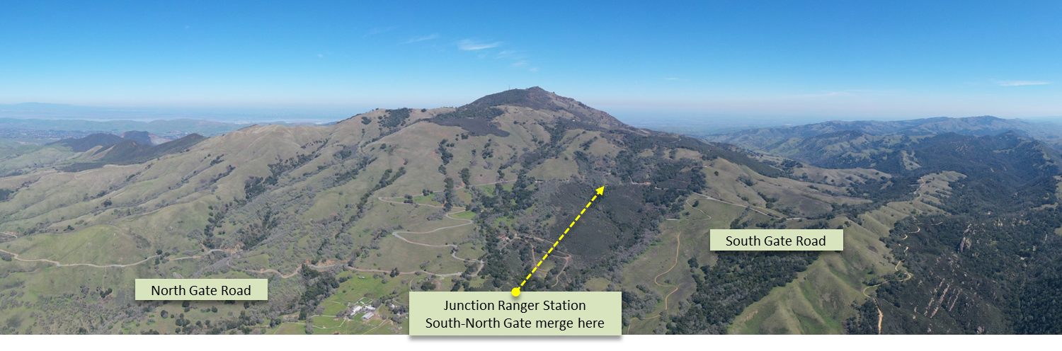 Cycling Mt. Diablo - aerial drone pano of north and south gate roads.