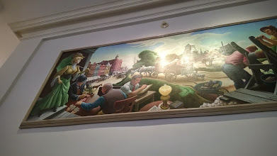 Photo: August 7-I went in pursuit of a mural by Thomas Hart Benton depicting life at the turn of the century.