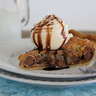 Peanut Butter and Milk Chocolate Chip Cookie Pie.
