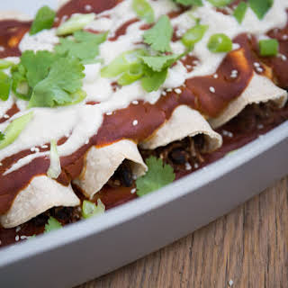 Mole Black Bean & Cauliflower Rice Enchiladas with Roasted Garlic Cashew Cream (Vegan, Gluten Free).