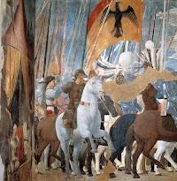 De overwinning van Constantijn over Maxentius (detail), de geschiedenis van het ware kruis van Piero della Francesca in de Basilica di San Francesco, Arezzo