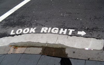 Writing on street advising pedestrians to look right