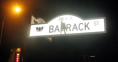 "Sign for Barrack Street modified to say ""Barack Street"""