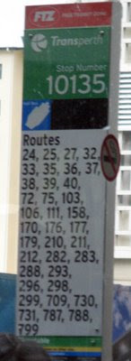 Bus stop sign with 37 routes listed