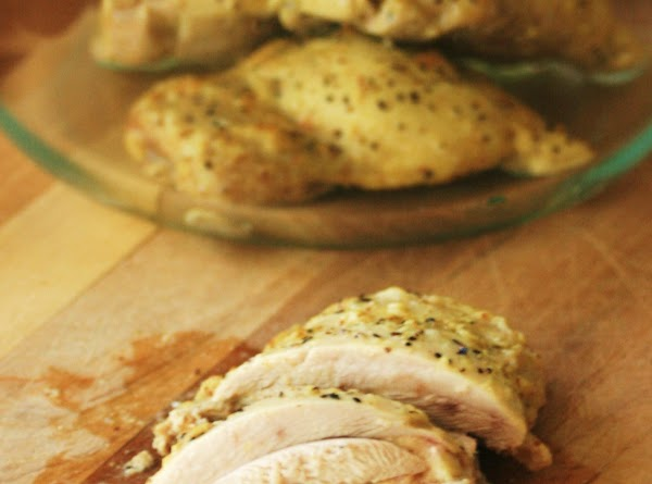When chicken has cooled for at least 5 minutes, slice into nice thin slices...