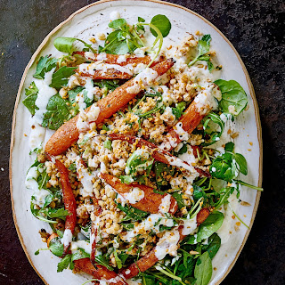 Roast Carrot and Spelt Salad with Dukkah and Preserved Lemon Dressing Recipe
