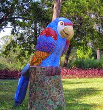 Photo: A parrot sculptureon the grounds of Hotel Santo Domingo del Cerro in Antigua.