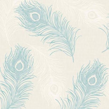 Debona Viola 40914, Tapet med påfågelfjädrar, Teal/Creme