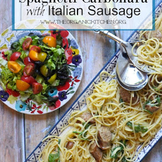Spaghetti Carbonara with Spicy Italian Sausage and Rocket!.