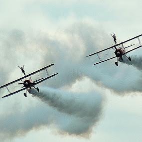 3rd class travel by Bob White - Transportation Airplanes ( wing walking, aero, acrobatics, wings, action figure, acrobat, bi-plane,  )
