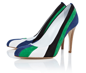 Karen Millen Colourblock Stripe Suede Court Shoes