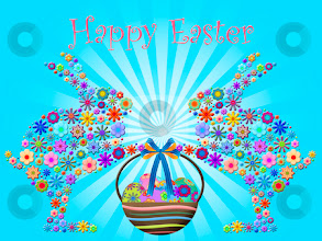 Photo: Happy Easter Abstract Bunnies Holding Basket of Floral Eggs Illustration