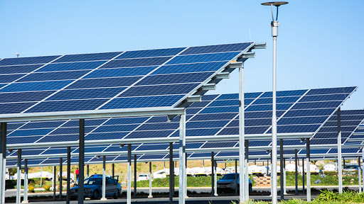 Solar panel carports in the parking lot of the Makro store in Roodepoort, Johannesburg.