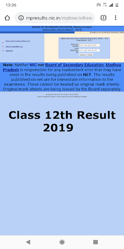 MP Board MPBSE 10th & 12th Results 2019 1.0 screenshots 1