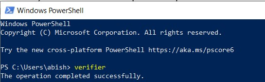 The verifier command in PowerShell