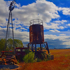 --------Windmill and Field------- by Neal Hatcher - Landscapes Prairies, Meadows & Fields