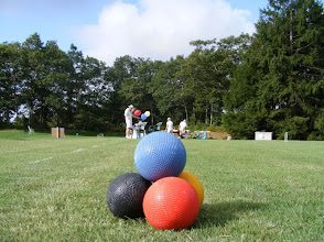 Photo: Balls stacked with care, await for practice and play to begin.