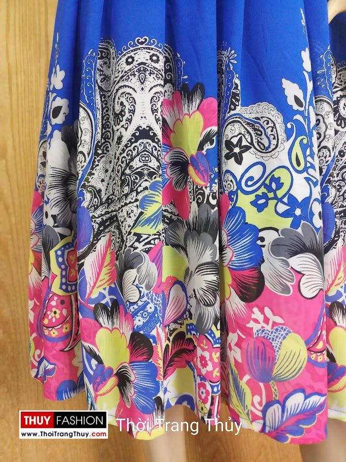 Váy xoè cổ chữ V vạt chéo hoạ tiết hoa V689 thời trang thuỷ nam định