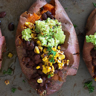 Charred Corn and Black Bean Stuffed Sweet Potatoes [Vegan].